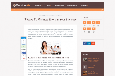 Different Ways To Minimize Errors In Your Business Infographic