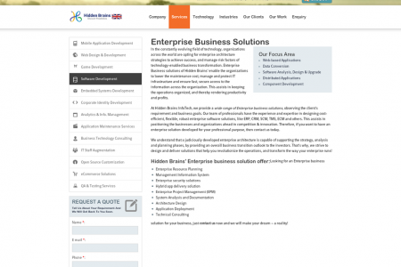 Enterprise Business Solutions and Services - Hidden Brains UK Infographic