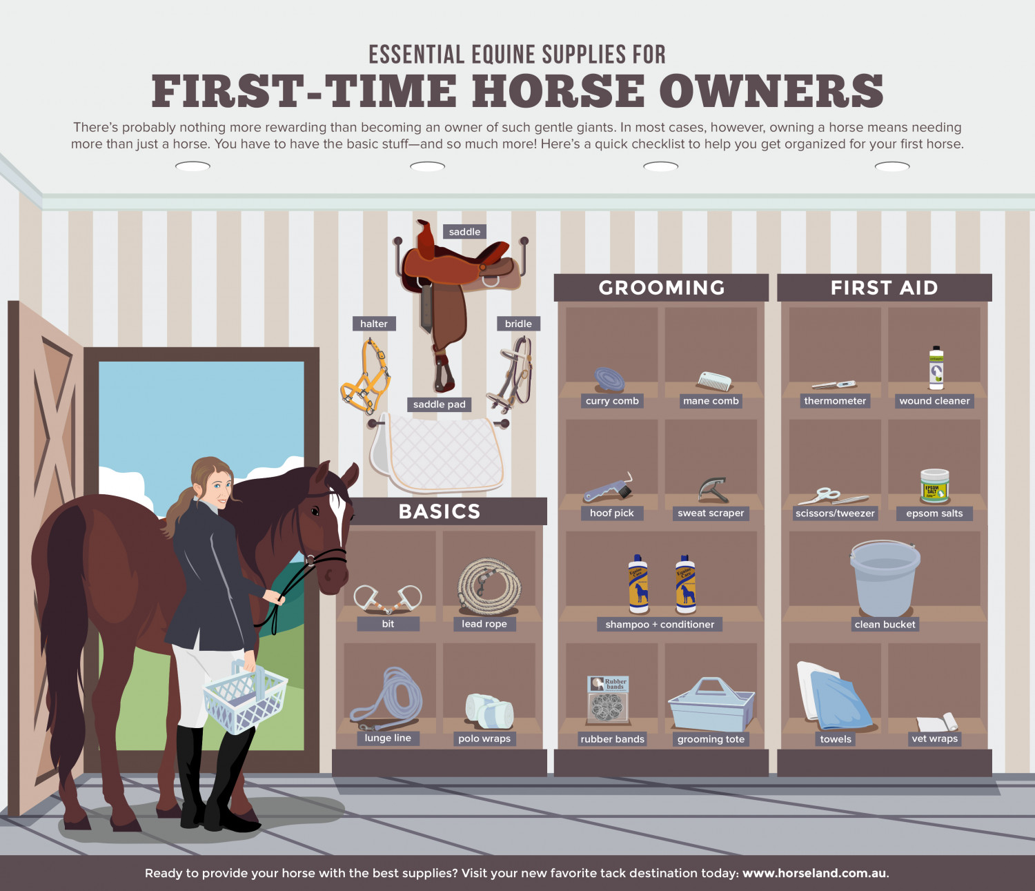 Essential Equine Supplies For First-Time Horse Owners Infographic