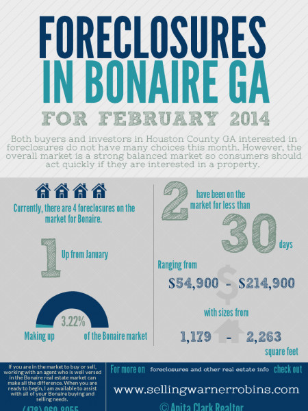 Foreclosures in Bonaire GA for February 2014 Infographic