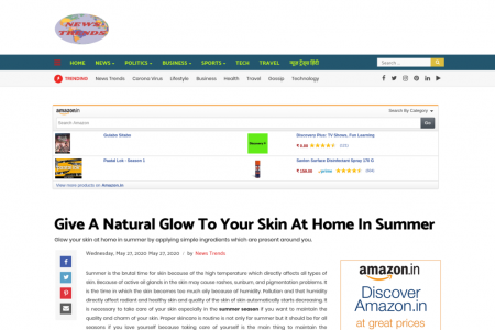 Give A Natural Glow To Your Skin At Home In Summer Infographic