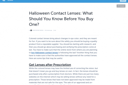 Halloween Contact Lenses: What Should You Know Before You Buy One? Infographic