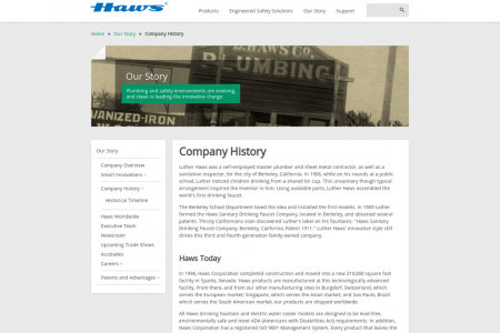 Haws Corporation Tempered Water Nevada USA, Singapore: Company History Infographic