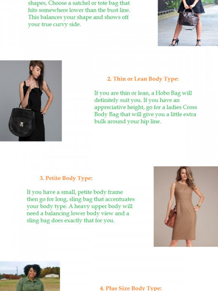 How to Buy Ladies Bags to Suit Body Type Infographic