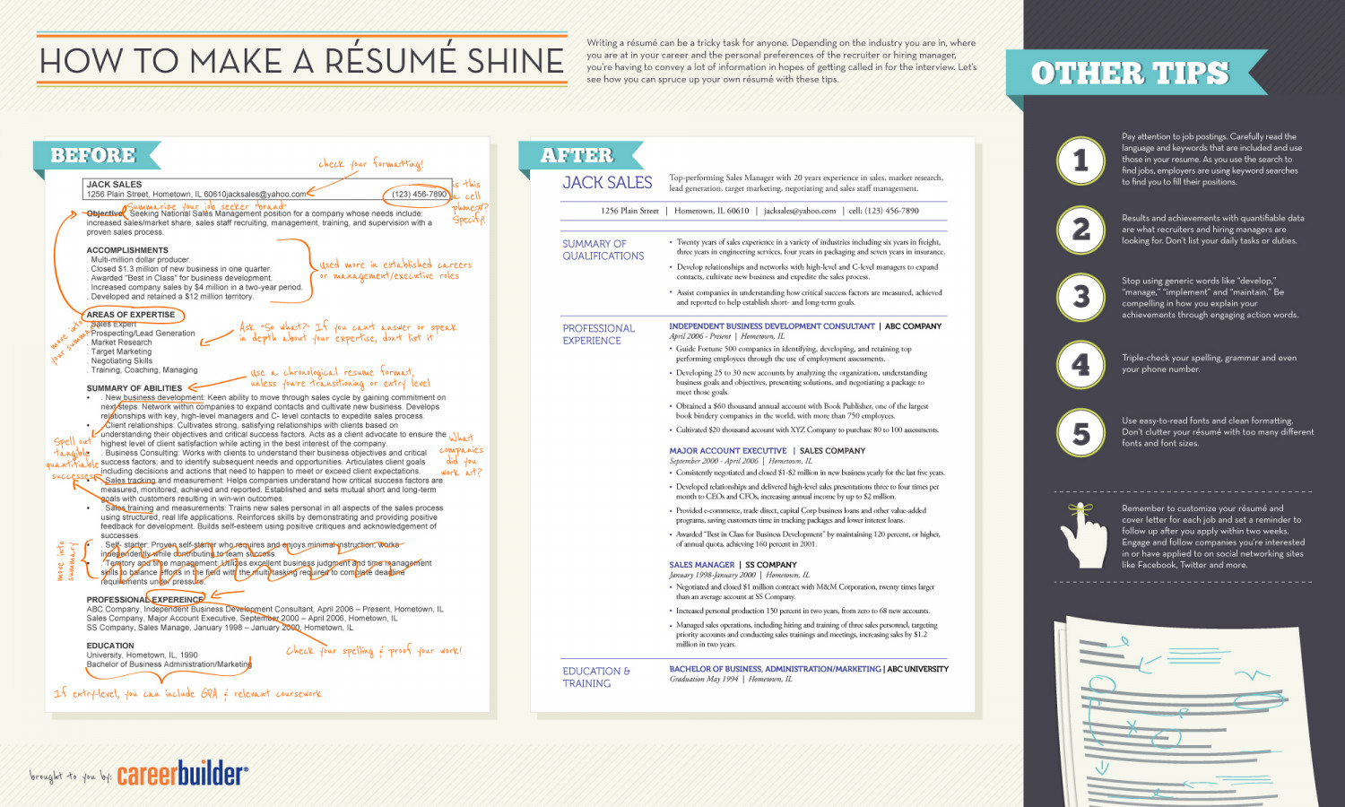 How To Make A Résumé Shine Infographic  Careerbuilder Resume Search