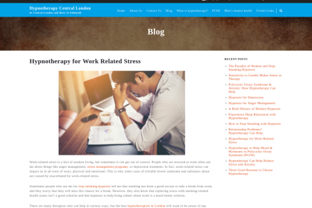 Hypnotherapy for Work Related Stress Infographic