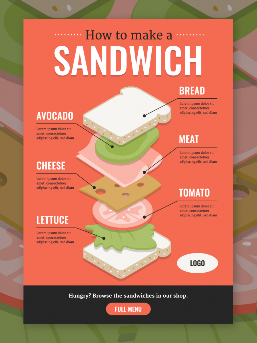 Isometric Sandwich infographic Infographic