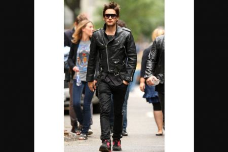 JARED LETO MEN'S BLACK BIKER LEATHER JACKET Infographic