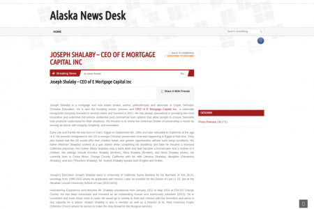 Joseph Shalaby – CEO of E Mortgage Capital Inc – Alaska News Desk Infographic