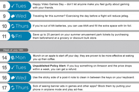 July Crucial Tips Calendar  Infographic