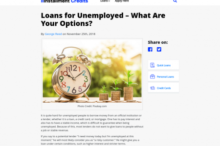 Loans for Unemployed – What Are Your Options? Infographic