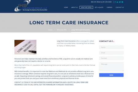 Long Term Care Insurance By IHS Insurance Group, LLC Infographic