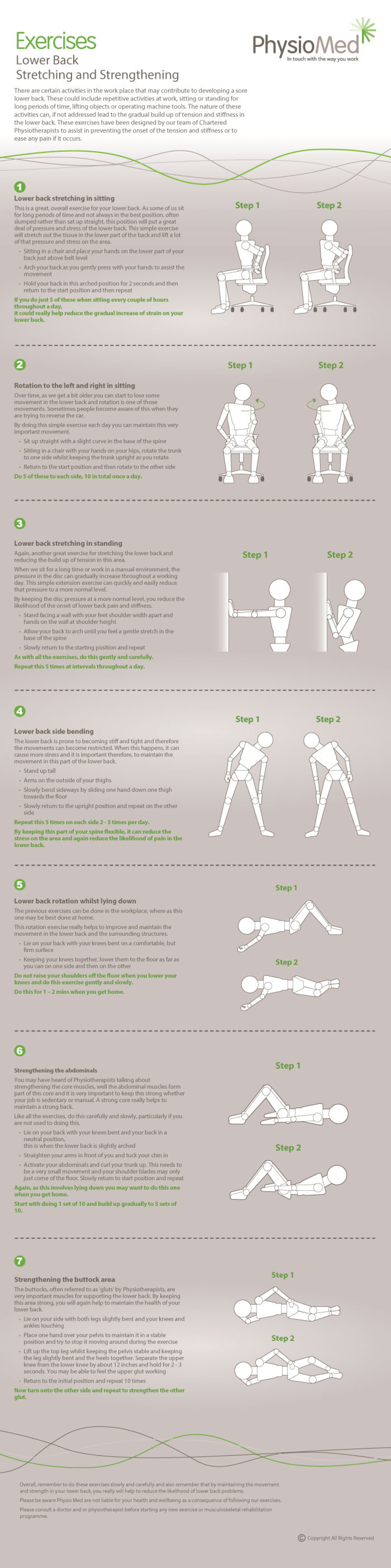 Lower Back Stretching and Strengthening Infographic