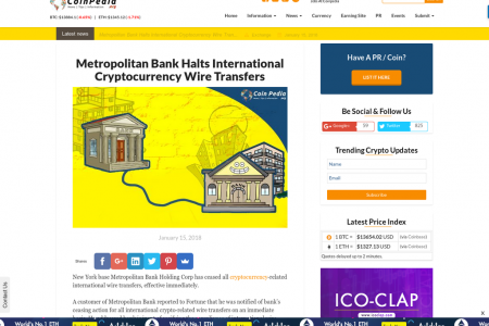 Metropolitan Bank Halts International Cryptocurrency Wire Transfers Infographic