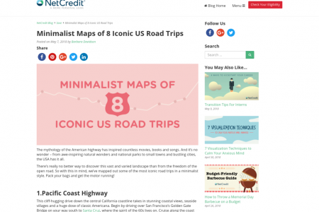 Minimalist Maps of 8 Iconic US Road Trips Infographic