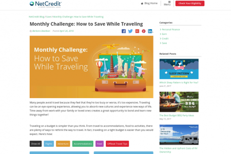 Monthly Challenge: How to Save While Traveling Infographic