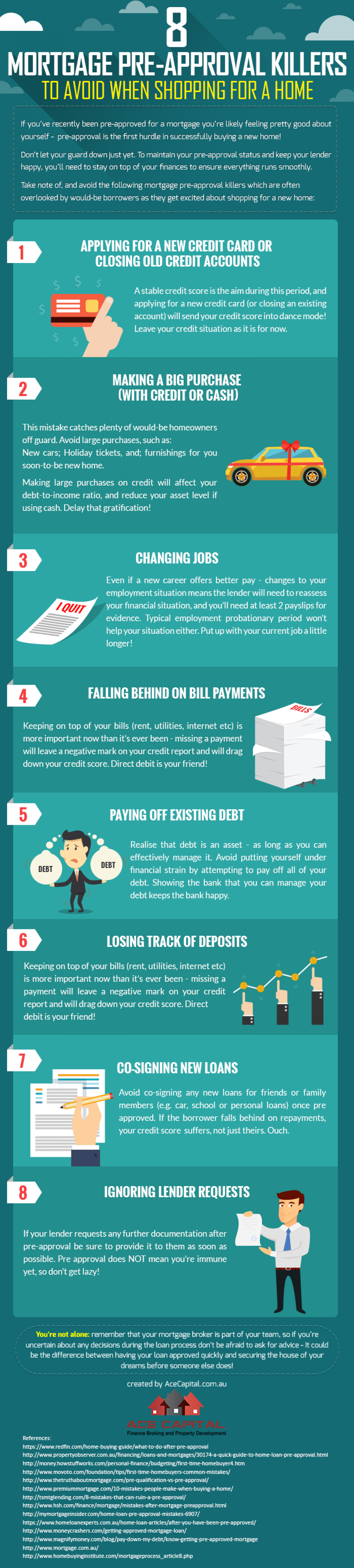 Mortgage/Home Loan Pre Approval Killers Infographic
