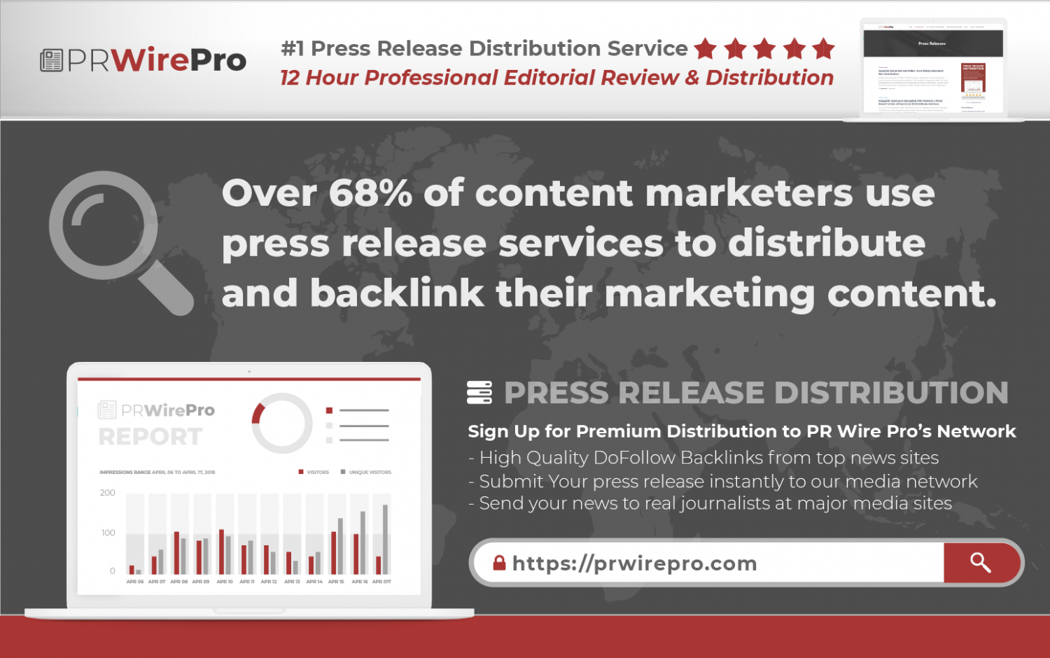 PRESS RELEASE DISTRIBUTION MARKETING STATISTICS - AD plus INFOGRAPHIC Infographic