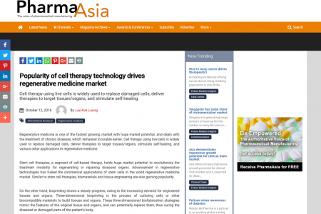 Popularity of cell therapy technology drives regenerative medicine market Infographic