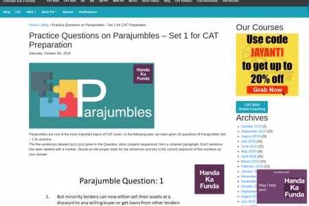 Practice Questions on Parajumbles for CAT/ XAT Preparation-1 Infographic