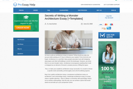 ProEssayHelp - Secrets of Writing a Monster Architecture Essay Infographic