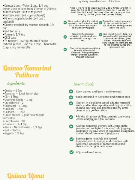 Quinoa South Indian Recipes Infographic