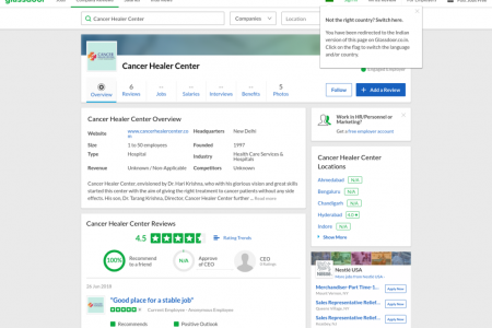 Read Cancer Healer Center Reviews at Glassdoor Infographic