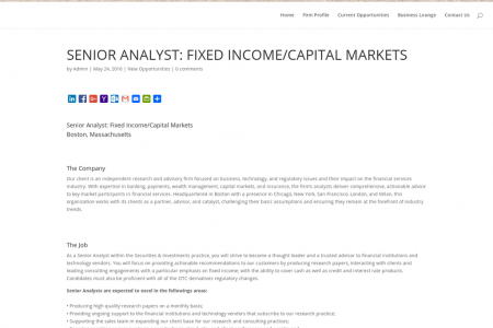 SENIOR ANALYST: FIXED INCOME/CAPITAL MARKETS – WALLACE ASSOCIATES Infographic