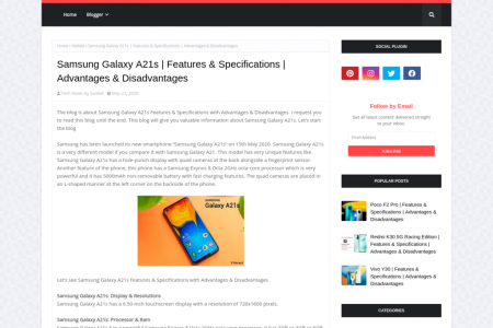 Samsung Galaxy A21s, Features, Specifications, Advantages & Disadvantages Infographic