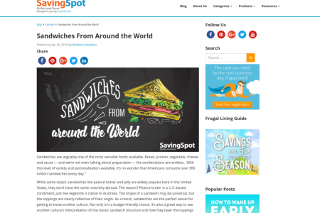 Sandwiches From Around the World Infographic