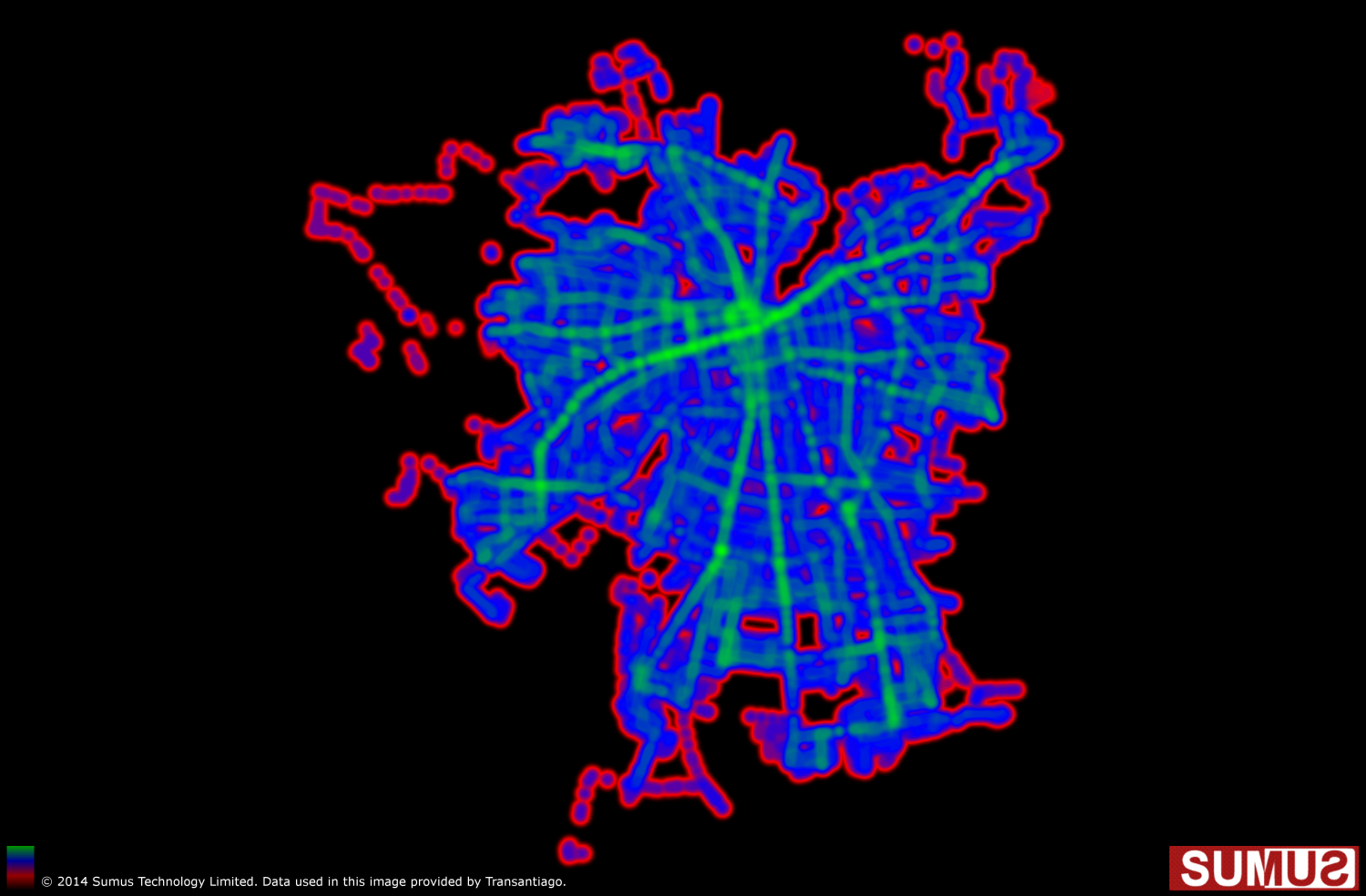 Santiago Transit (Transantiago), Chile Coverage Map: May 28th, 2014 Infographic