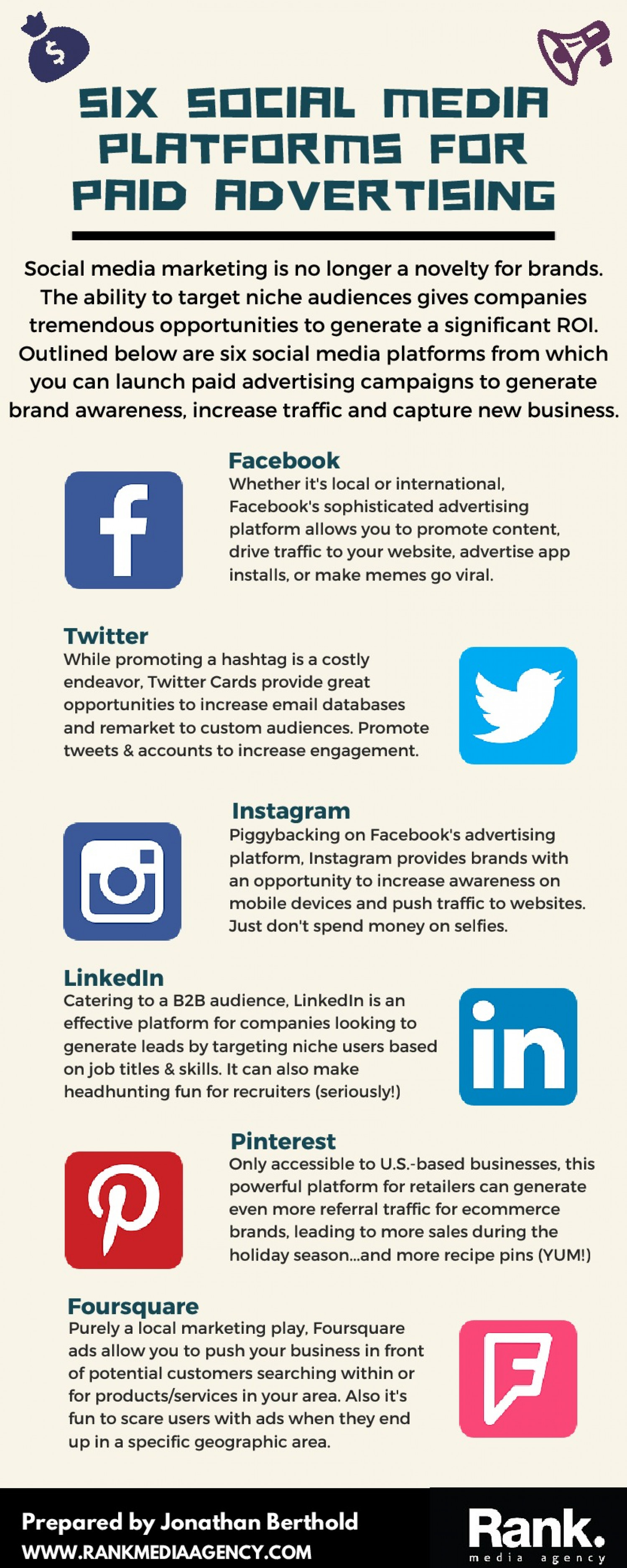 Six Social Media Platforms for Paid Advertising Infographic