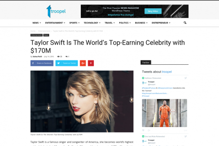 Taylor Swift Is The World's Top-Earning Celebrity with $170M Infographic