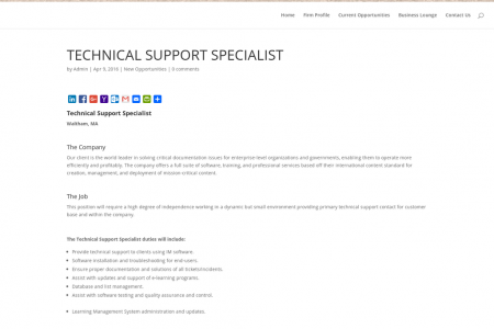 Technical Support Specialist Job at Wallace Associates Infographic