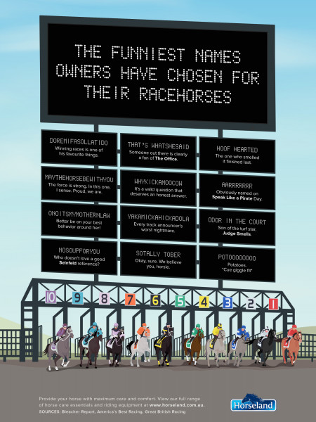 The Funniest Names Owners Have Chosen for Their  Racehorses Infographic