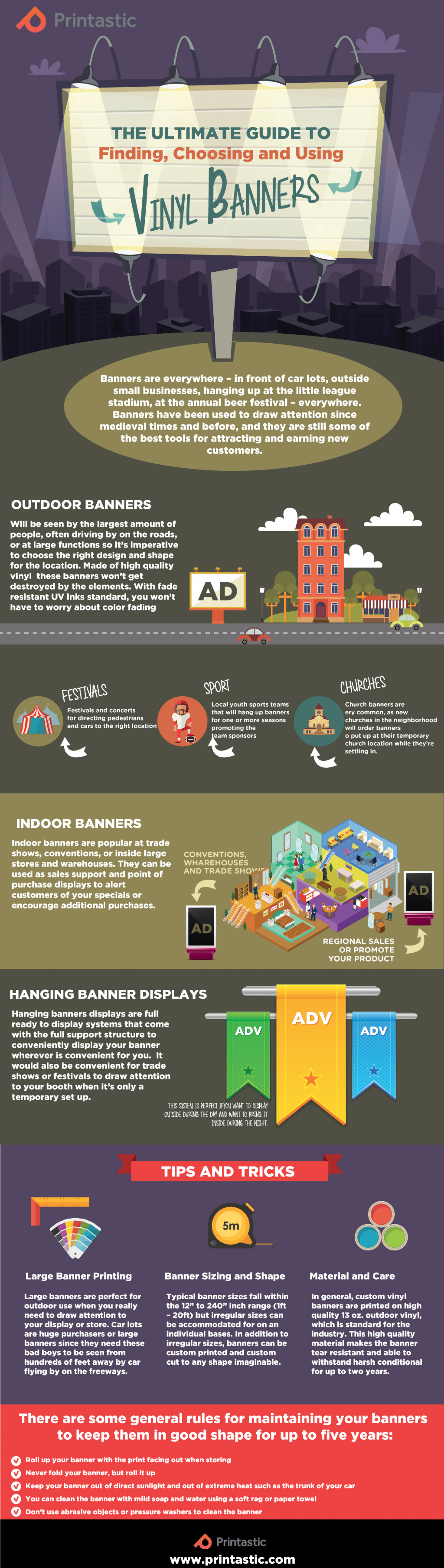 The Ultimate Guide to Finding, Choosing & Using Vinyl Banners Infographic