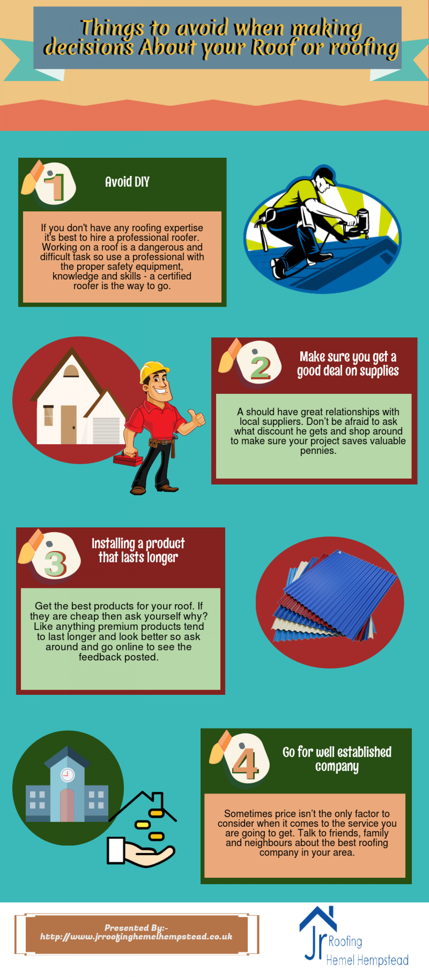 Things to avoid when making decisions About your Roof or roofing Infographic