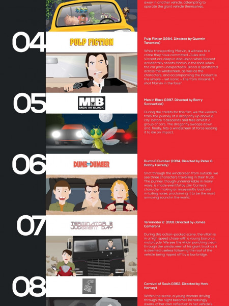 Top 10 Iconic Windscreen Scenes in Films Infographic