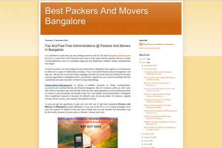 Top And Feel Free Administrations @ Packers And Movers In Bangalore Infographic