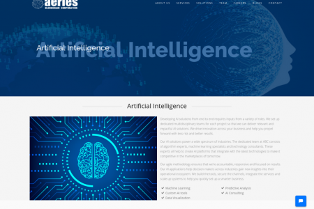 Top Artificial Intelligence solution provider i.e. Aeries Blockchain Corporation Infographic