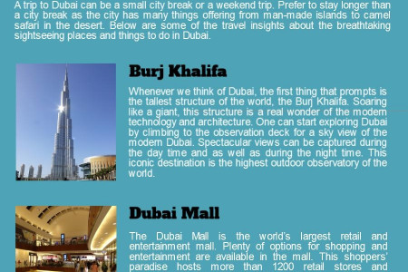 Tourist Attractions in Dubai Infographic
