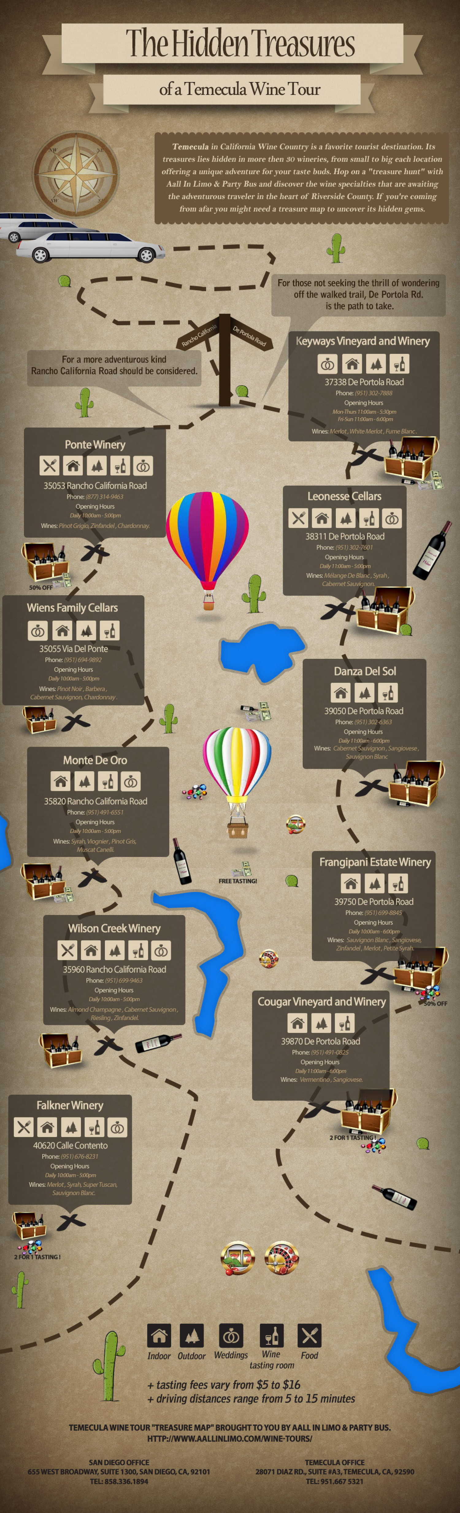 Tour map of Temecula Valley wineries Infographic