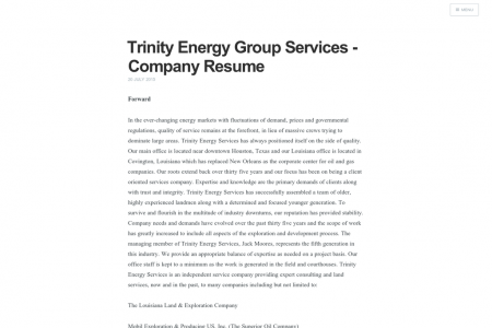 Trinity Energy Group Services - Company Resume Infographic