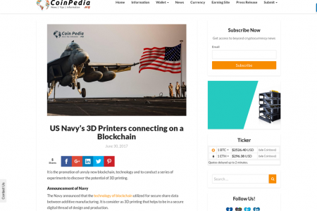 US Navy's 3D Printers connecting on a Blockchain Infographic