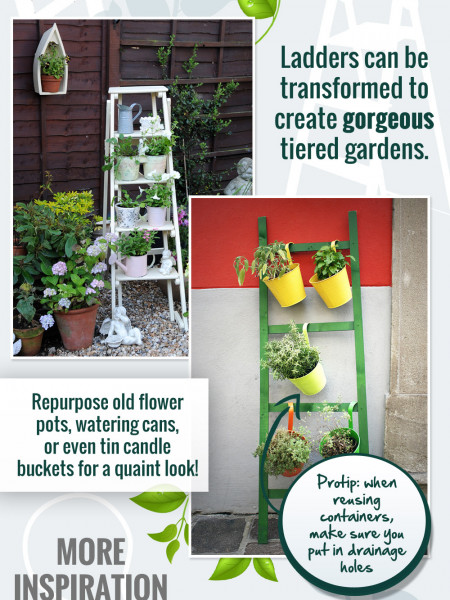 Urban Gardening with Recycled Items Infographic