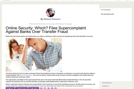 Which? Files Supercomplaint Against Banks Over Transfer Fraud - Online Security Infographic