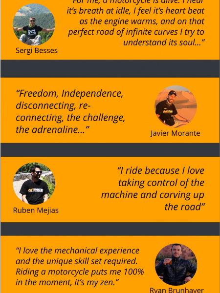 Why we ride? Testimonials of 14 motorbike lovers Infographic