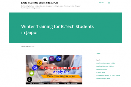 Winter Training for B.Tech Students in Jaipur Infographic