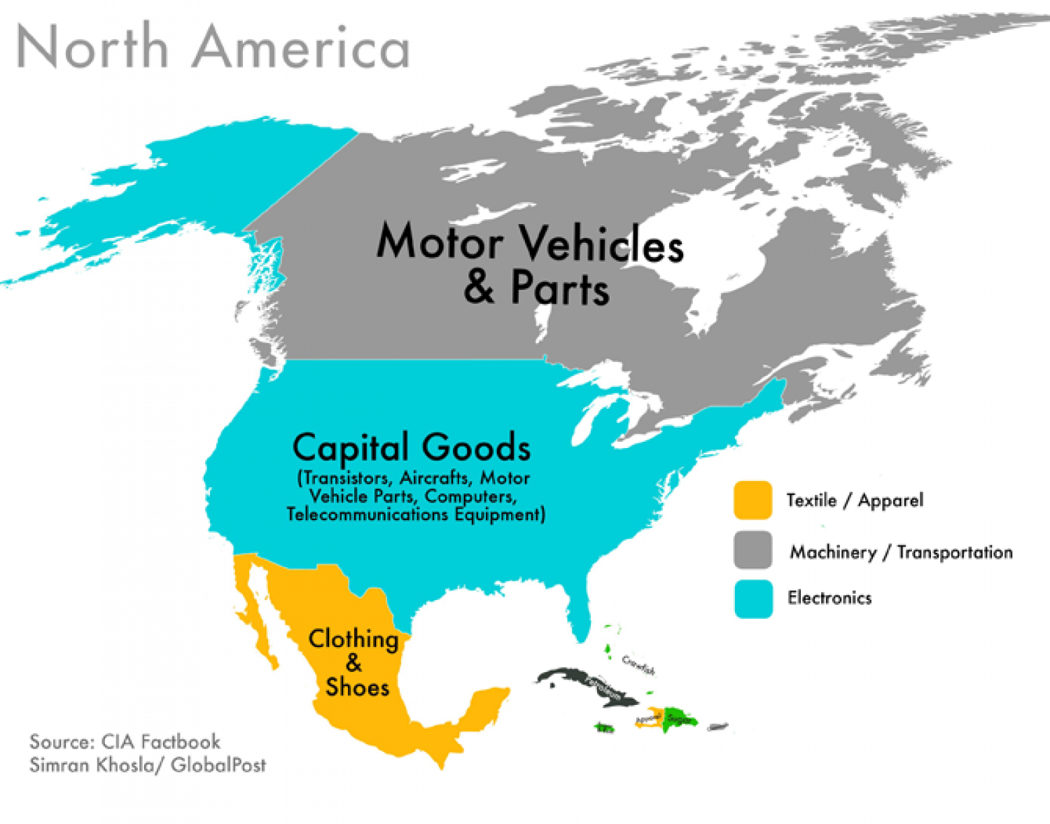 World Commodities Map: North America Infographic