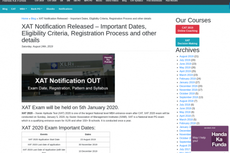 XAT Notification Released Infographic